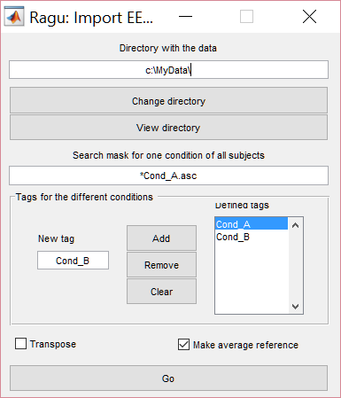 Ragu data import dialog